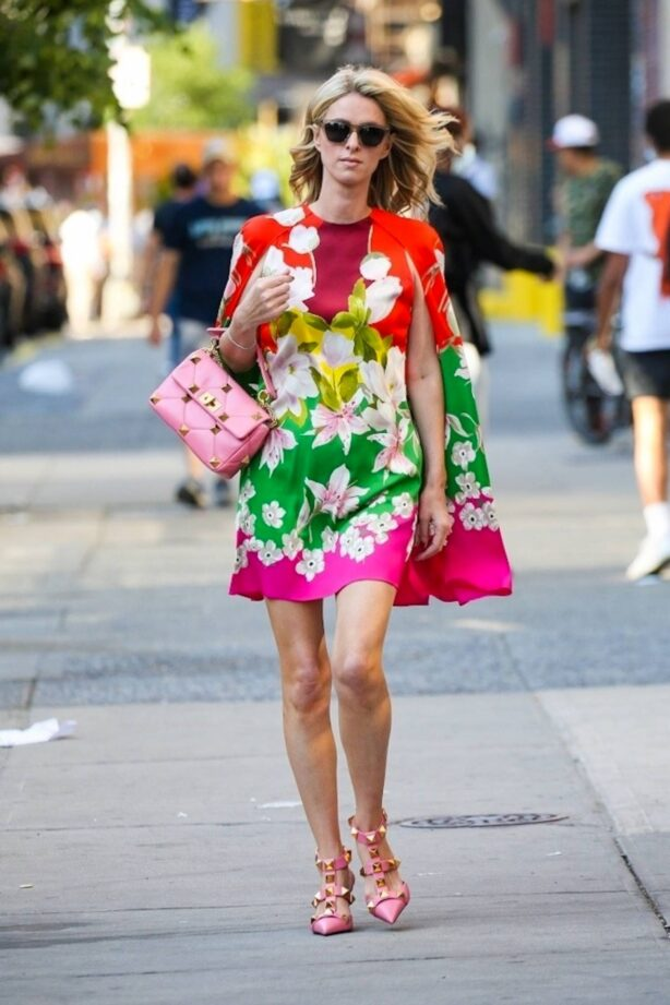 Nicky Hilton - In colorful dress on a stroll in New York