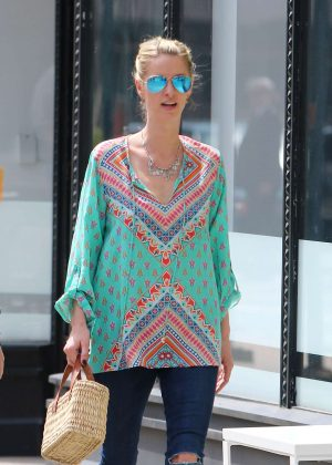 Nicky Hilton in Colorful Tunic out in New York