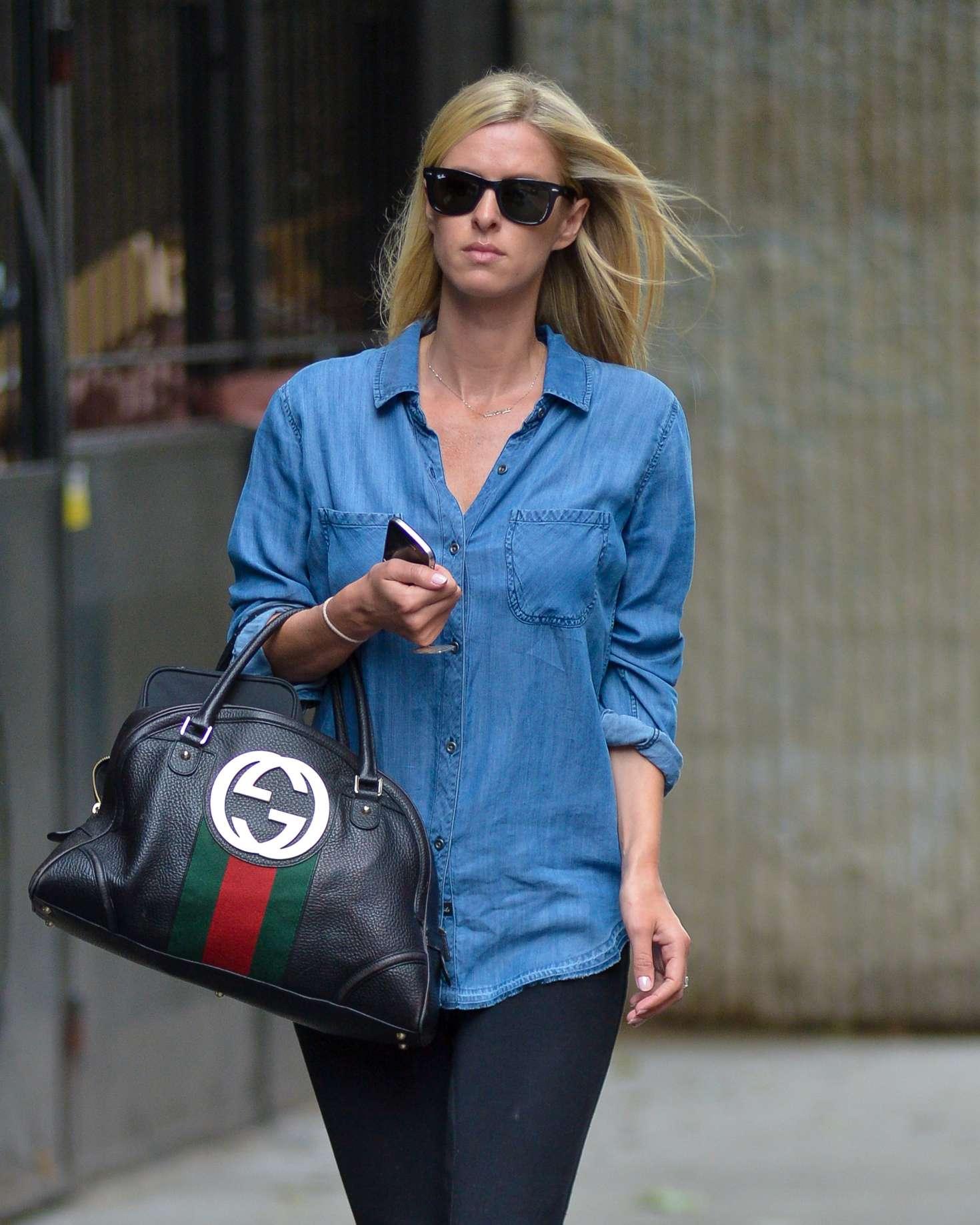 Nicky Hilton in denim shirt out in Manhattan