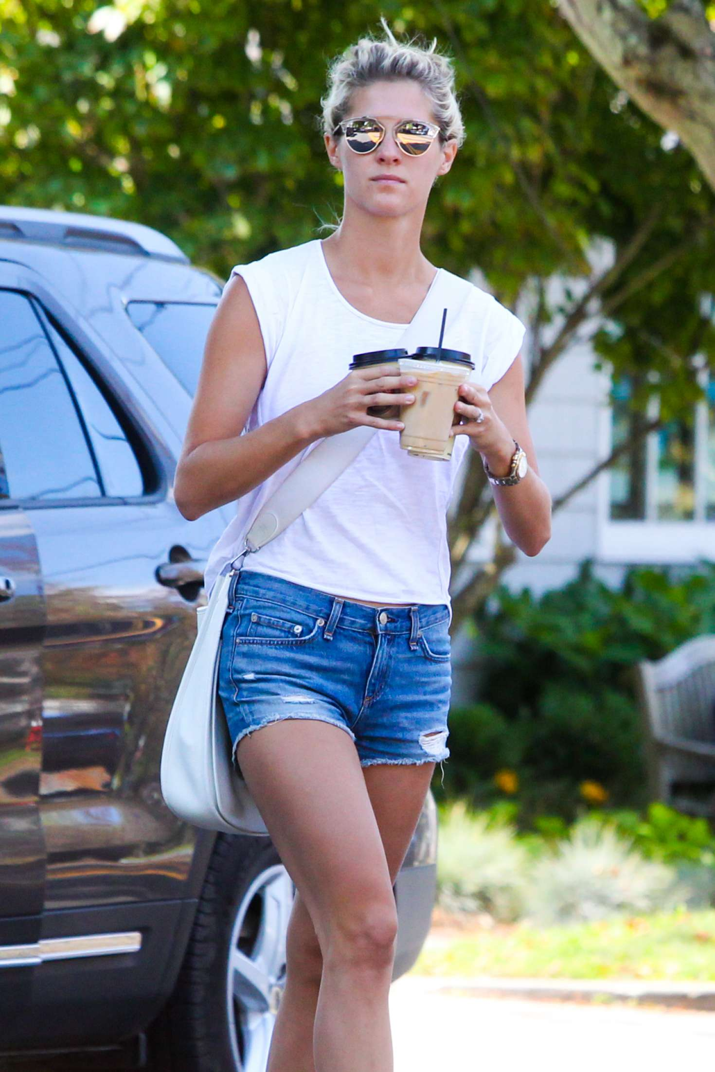 Nicky Hilton in Denim Shorts out in the Hamptons