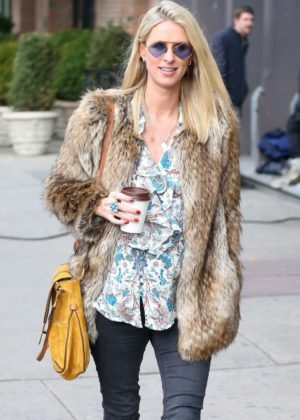 Nicky Hilton in Fur Coat out in NYC