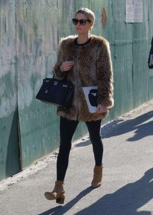 Nicky Hilton in Fur Coat Walking in Soho