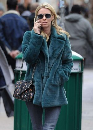 Nicky Hilton in Green Fur Coat - Out in New York City