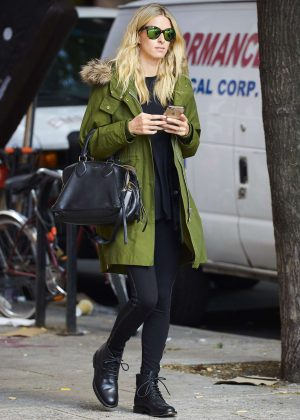 Nicky Hilton in green jacket out in New York