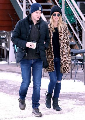 Nicky Hilton in Jeans and Fur Coat out in Aspen