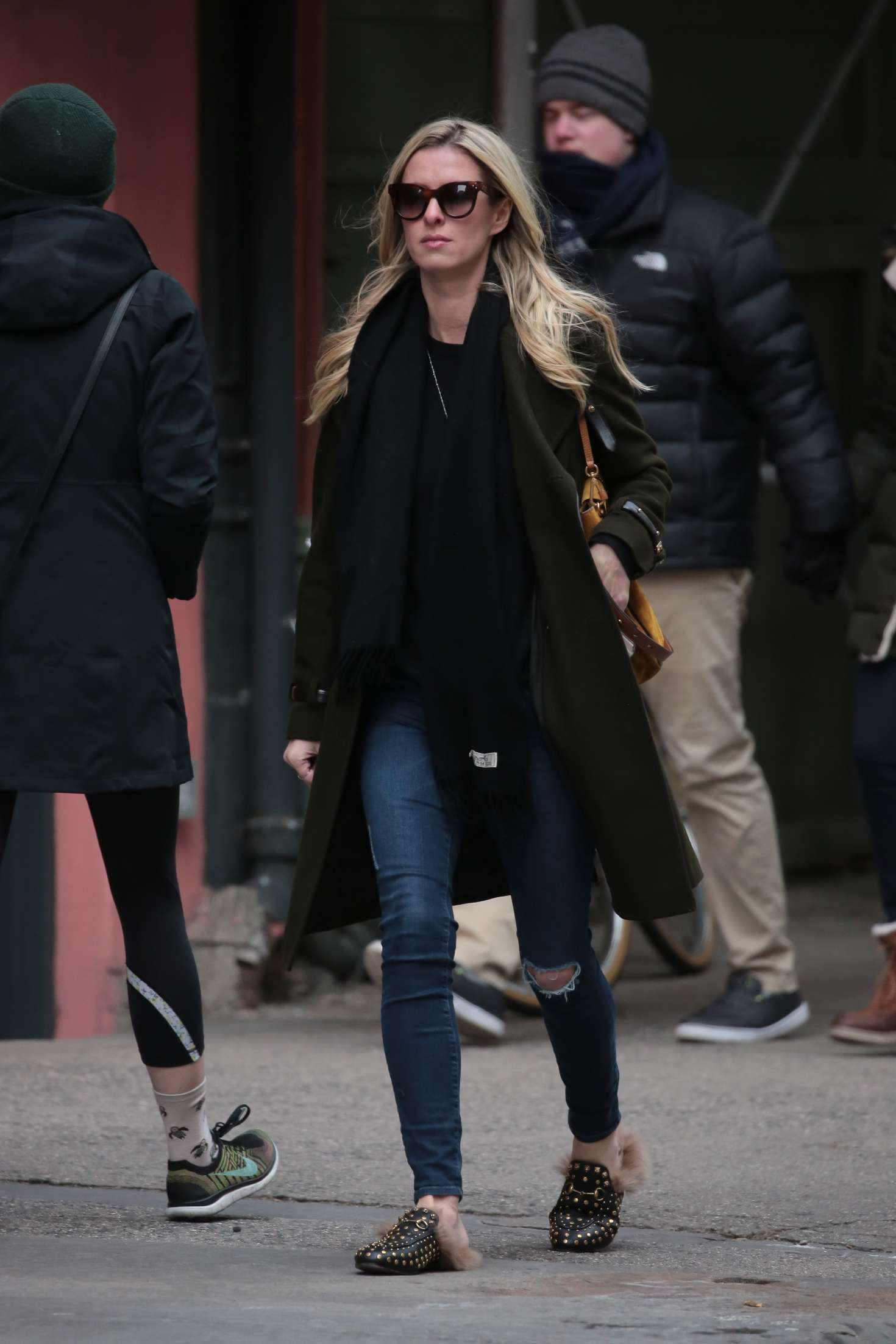 Nicky Hilton in Jeans and Long coat out in New York