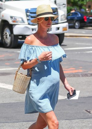 Nicky Hilton in Jeans Mini Dress out in New York City