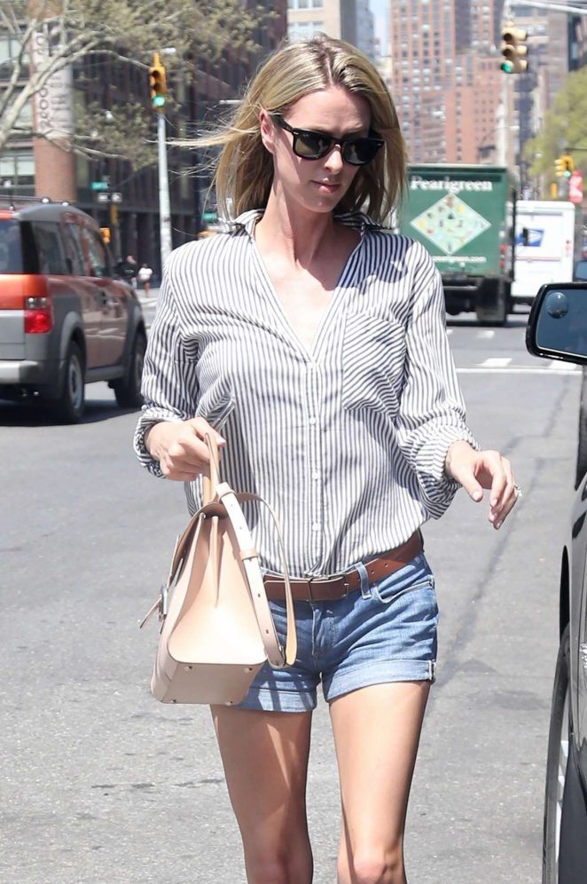 Nicky Hilton in Jeans Shorts out in New York