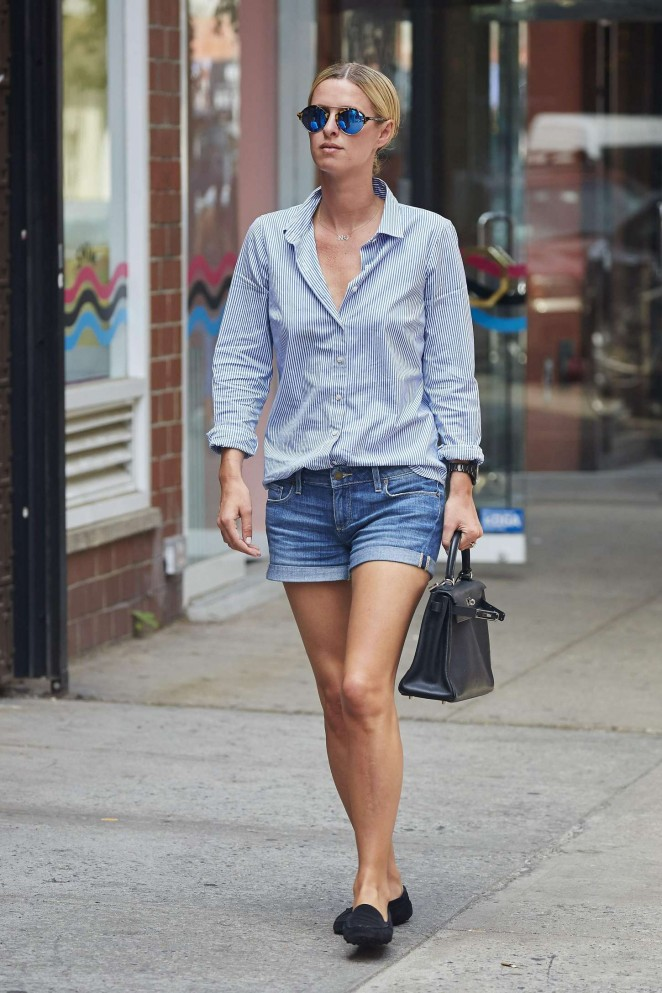 Nicky Hilton in Jeans Shorts out in NYC