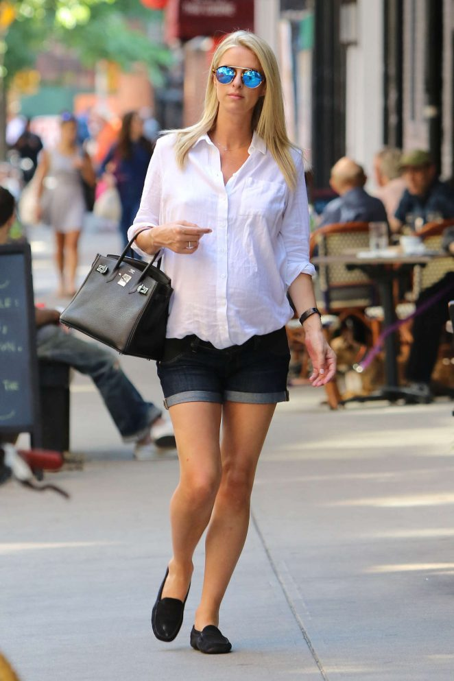 Nicky Hilton in Jeans Shorts out in Soho
