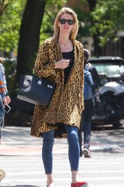 Nicky Hilton in Leopard Print Coat - Out in New York