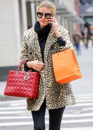 Nicky Hilton in Leopard Print Coat out in New York