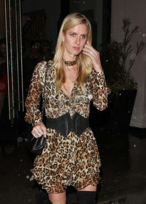 Nicky Hilton in leopard print dress at 'Catch' in West Hollywood