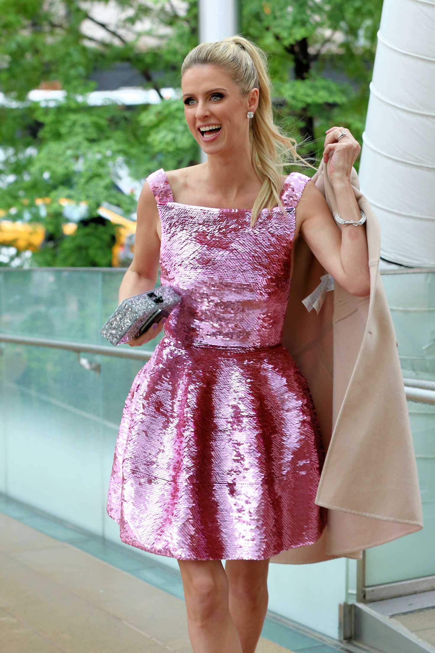 Nicky Hilton in Pink Dress out in New York