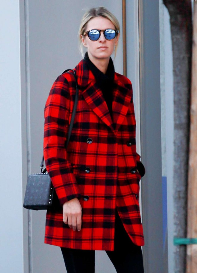 Nicky Hilton in Red Coat out in Beverly Hills