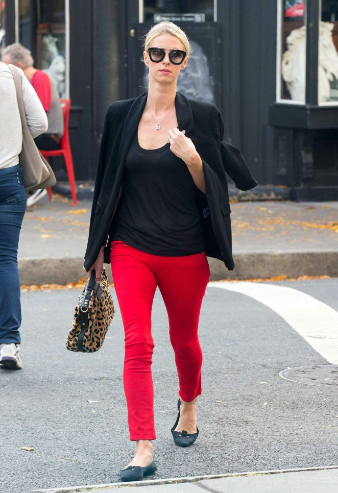 Nicky Hilton in Red Pants out in New York City