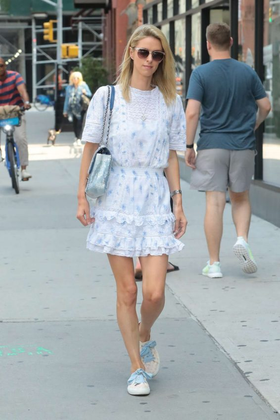 Nicky Hilton in White Dress - Out in New York
