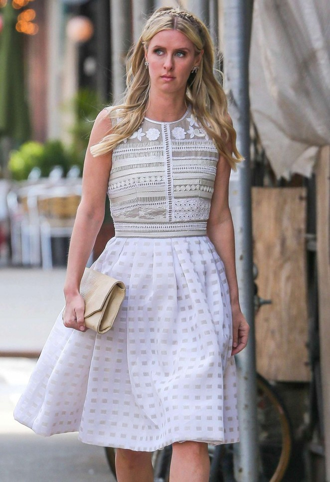 Nicky Hilton in White Dress out in New York