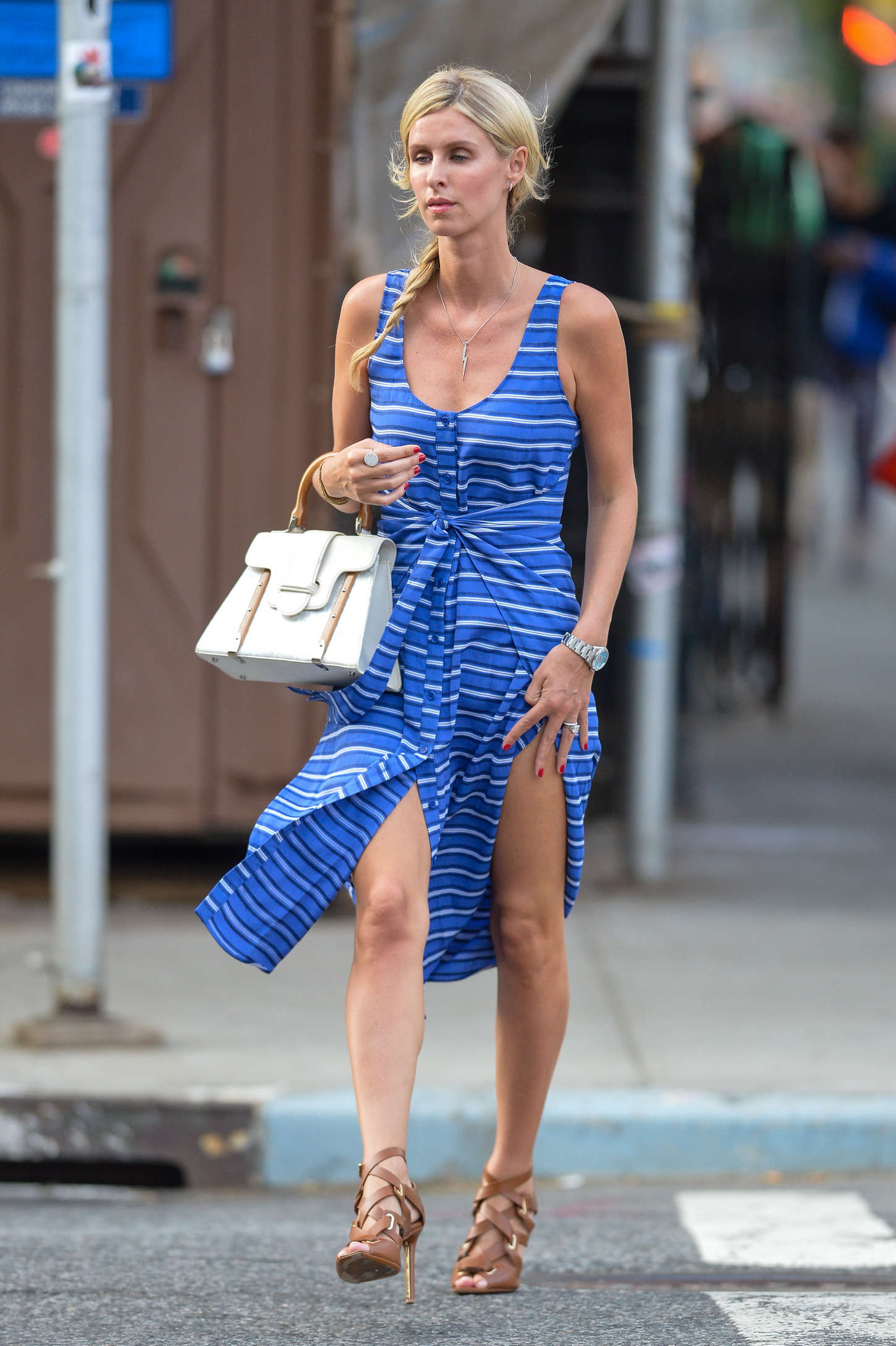 Nicky Hilton in Blue Mini Dress out in NYC