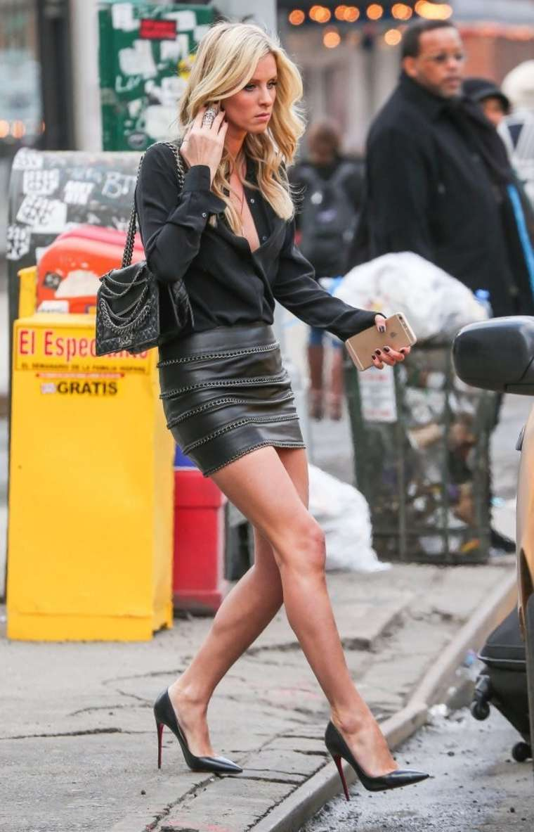 Nicky Hilton in Leather Mini Skirt out in NYC