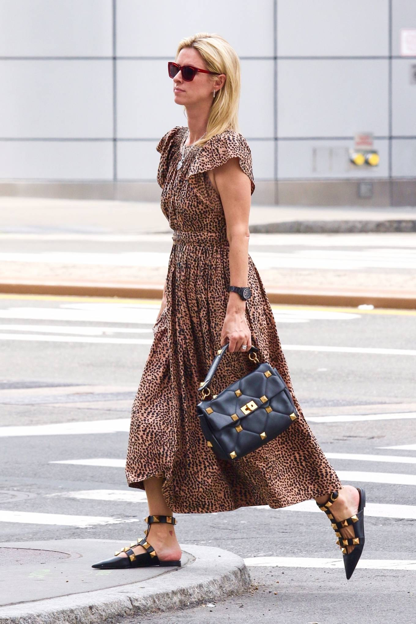 Nicky Hilton - Rocks leopard print dress while out in Downtown Manhattan