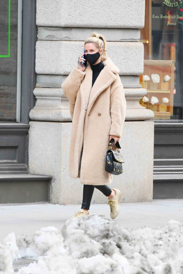 Nicky Hilton Rothschild - In a beige coat while out in SoHo - New York