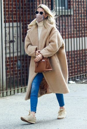 Nicky Hilton Rothschild - In a brown teddy bear coat out in Downtown Manhattan