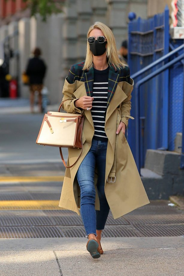 Nicky Hilton Rothschild - Wearing a quirky trench coat in New York