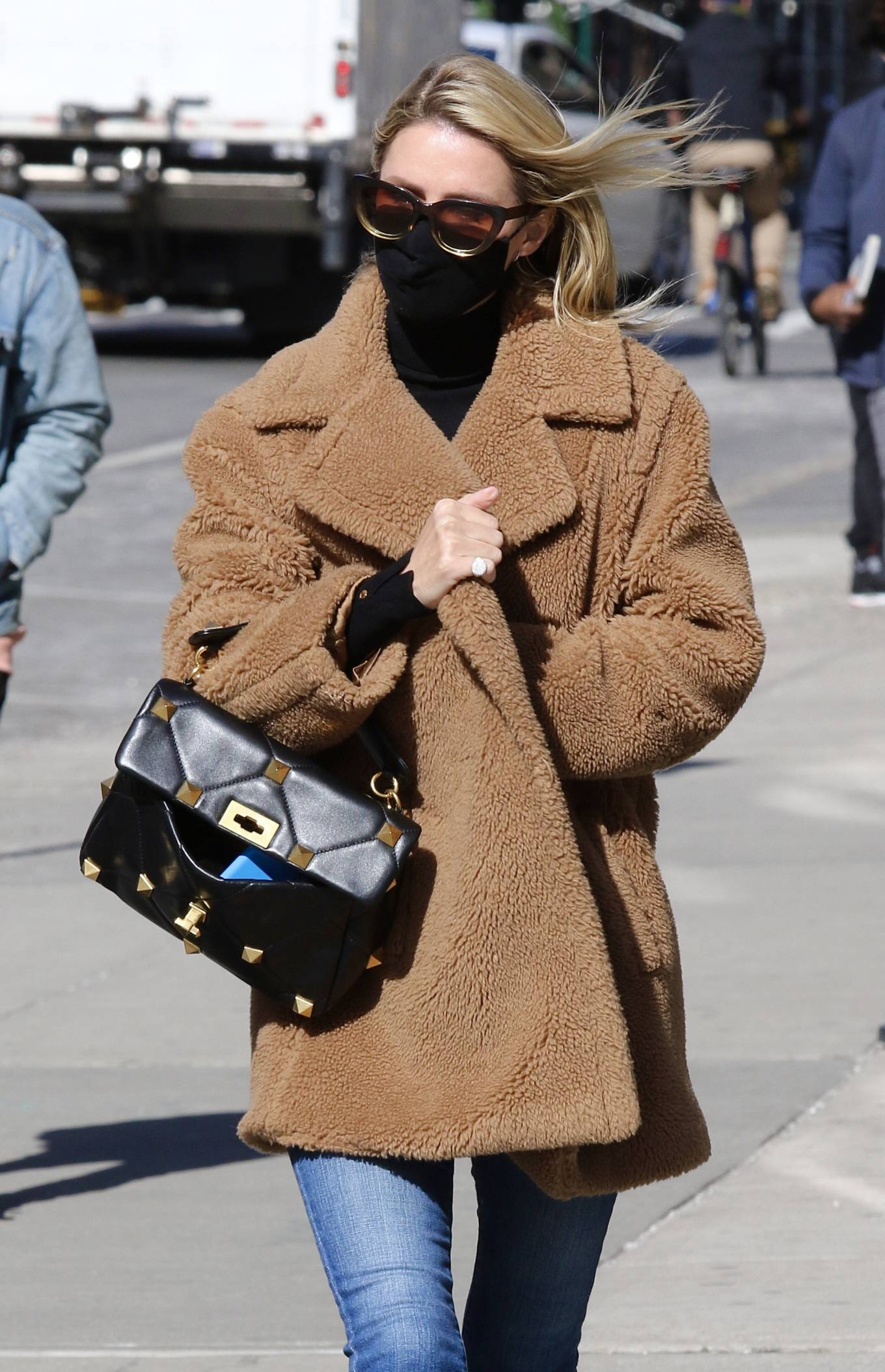 Nicky Hilton - Wearing a brown teddy bear coat while out in Manhattan