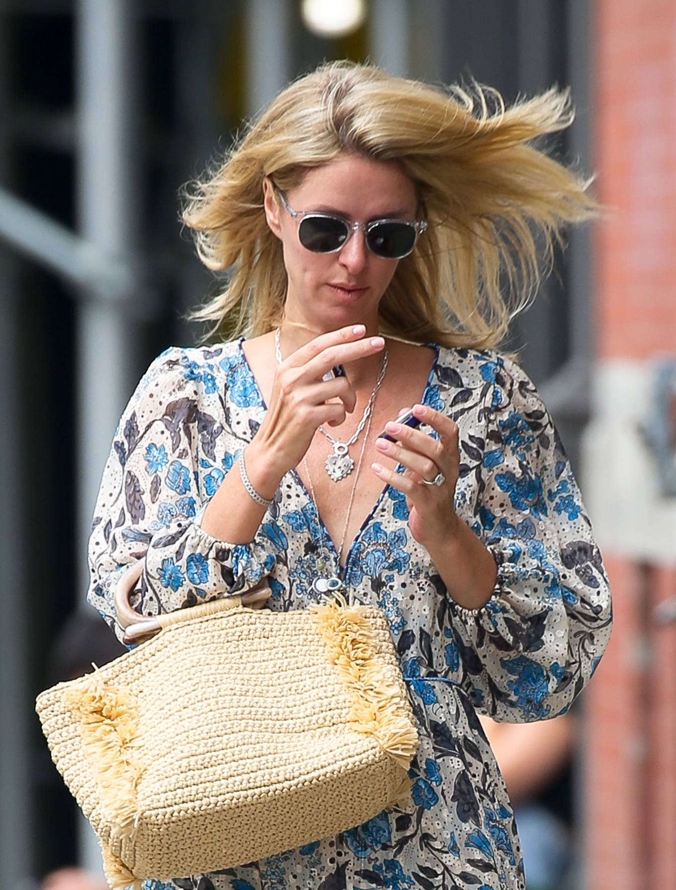 Nicky Hilton - Wears a floral dress in New York