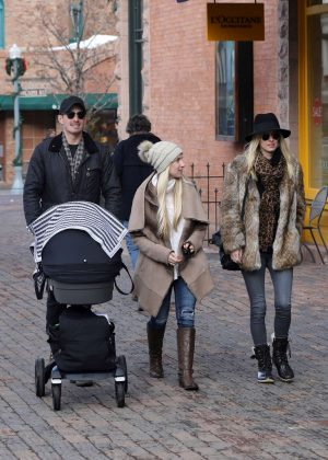 Nicky Hilton with her family out in Aspen