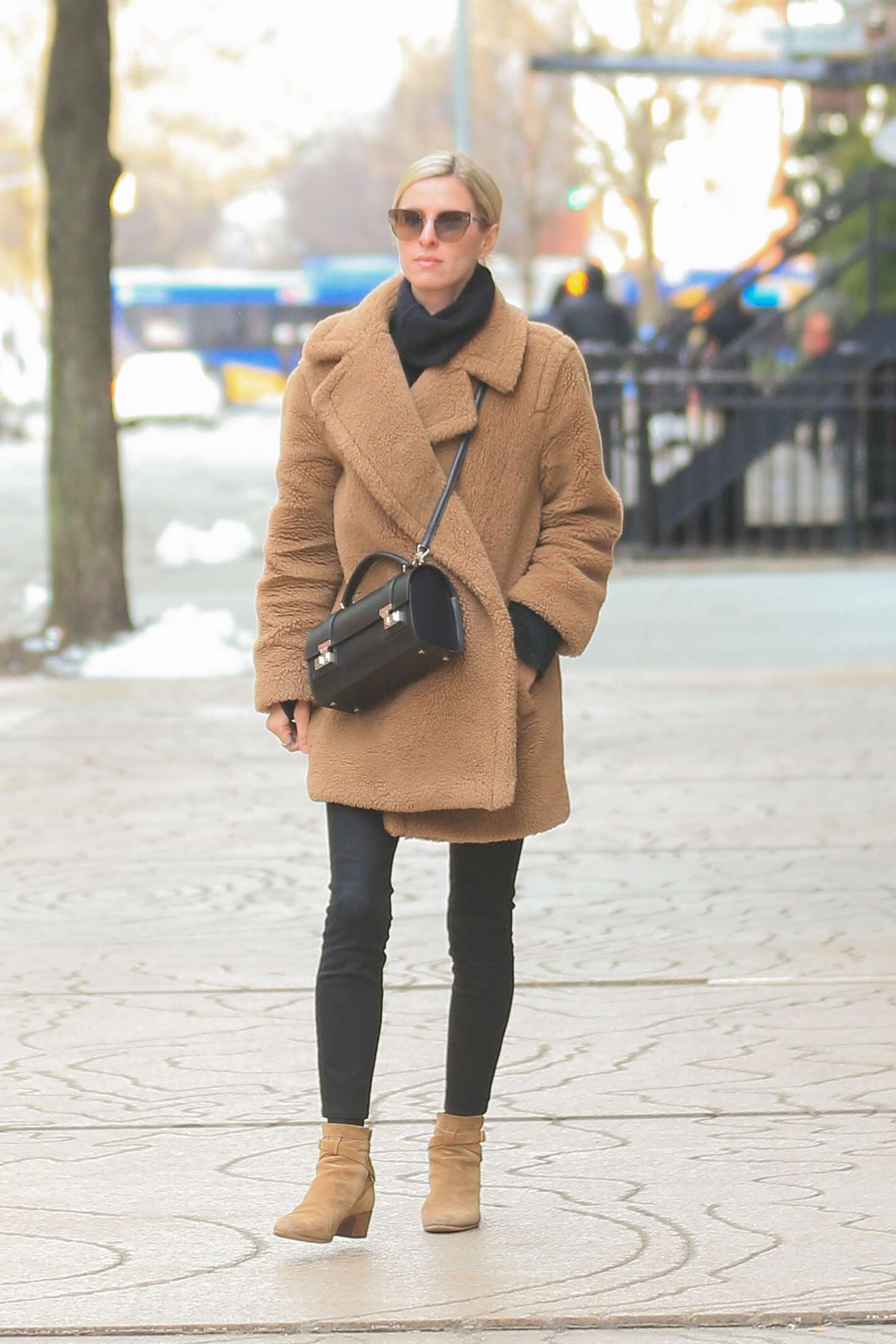 Nicky Hiltonin Brown Coat - Out in New York