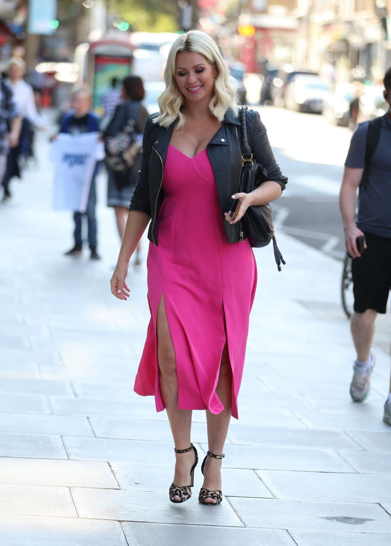 Nicola McLean 2019 : Nicola Mclean – In flirty pink dress exits Jeremy Vine show in London-05