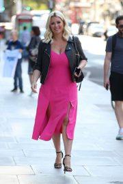 Nicola Mclean - In flirty pink dress exits Jeremy Vine show in London