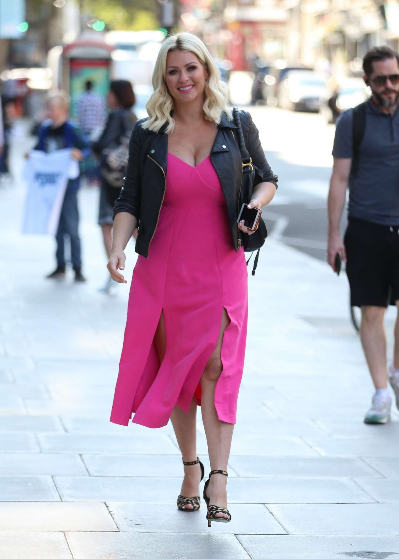 Nicola Mclean - In flirty pink dress exits Jeremy Vine show in London