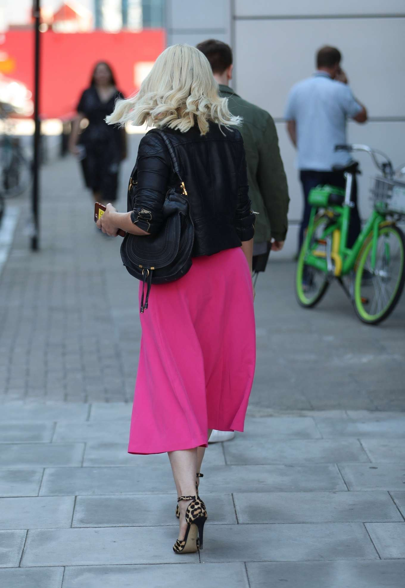 Nicola McLean 2019 : Nicola Mclean – In flirty pink dress exits Jeremy Vine show in London-14