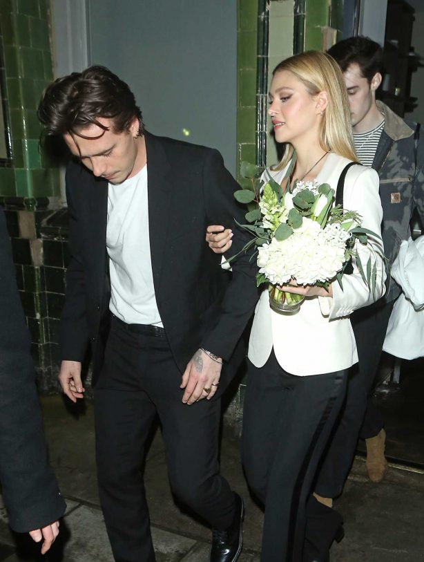 Nicola Peltz and Brooklyn Beckham - Leaving the Tings launch party in London