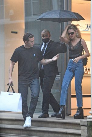 Nicola Peltz and Brooklyn Beckham spotted leaving the Victoria Beckham store on Dover Street