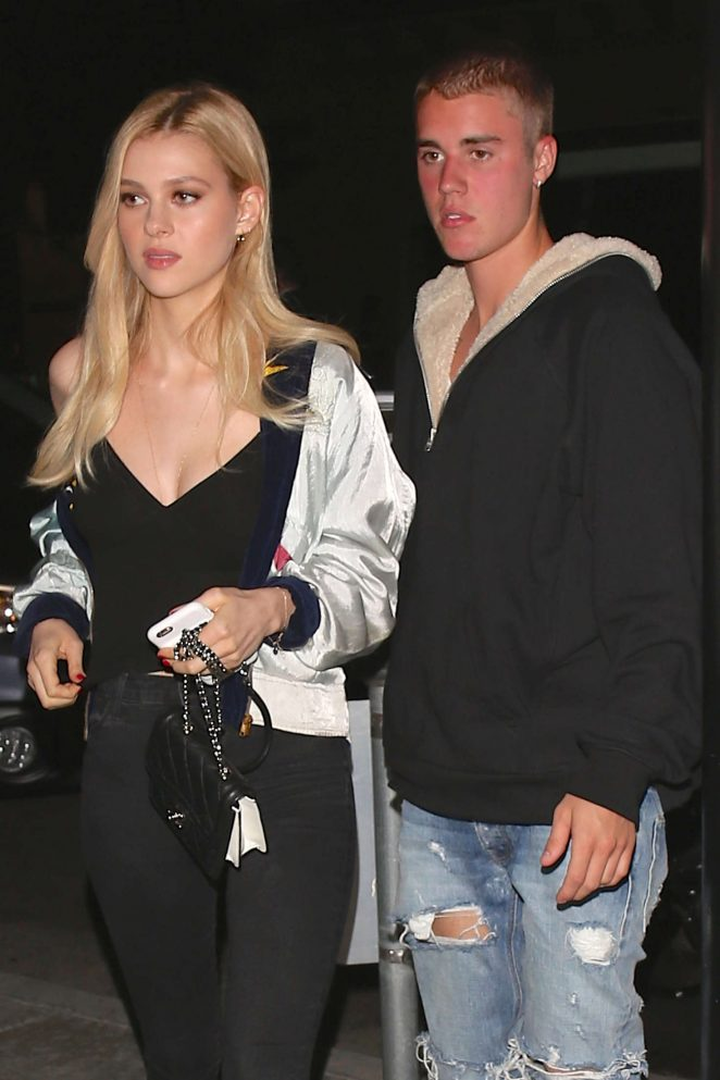 Nicola Peltz and Justin Bieber at Mastro's Steakhouse in Beverly Hills
