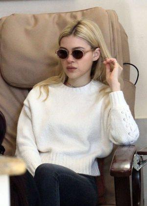 Nicola Peltz at nails salon in Beverly Hills