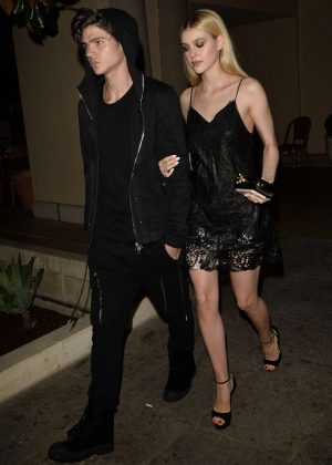 Nicola Peltz in Black Dress at Bouchon Bistro in Los Angeles
