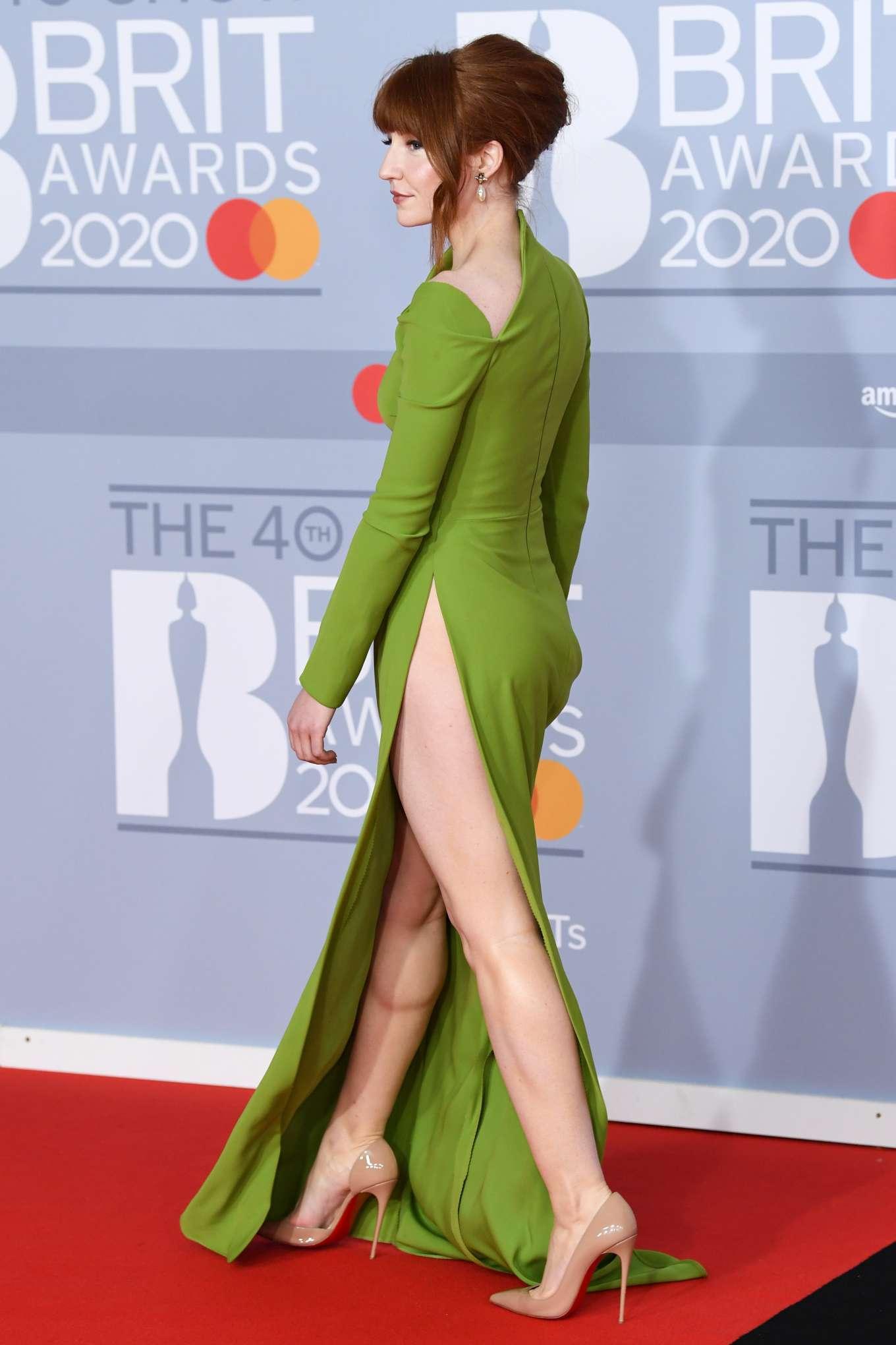 Nicola Roberts - In green split dress at 2020 BRIT Awards