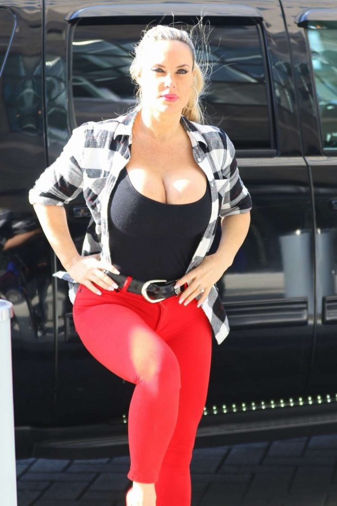 Nicole Coco Austin in Red Pants Out in Beverly Hills