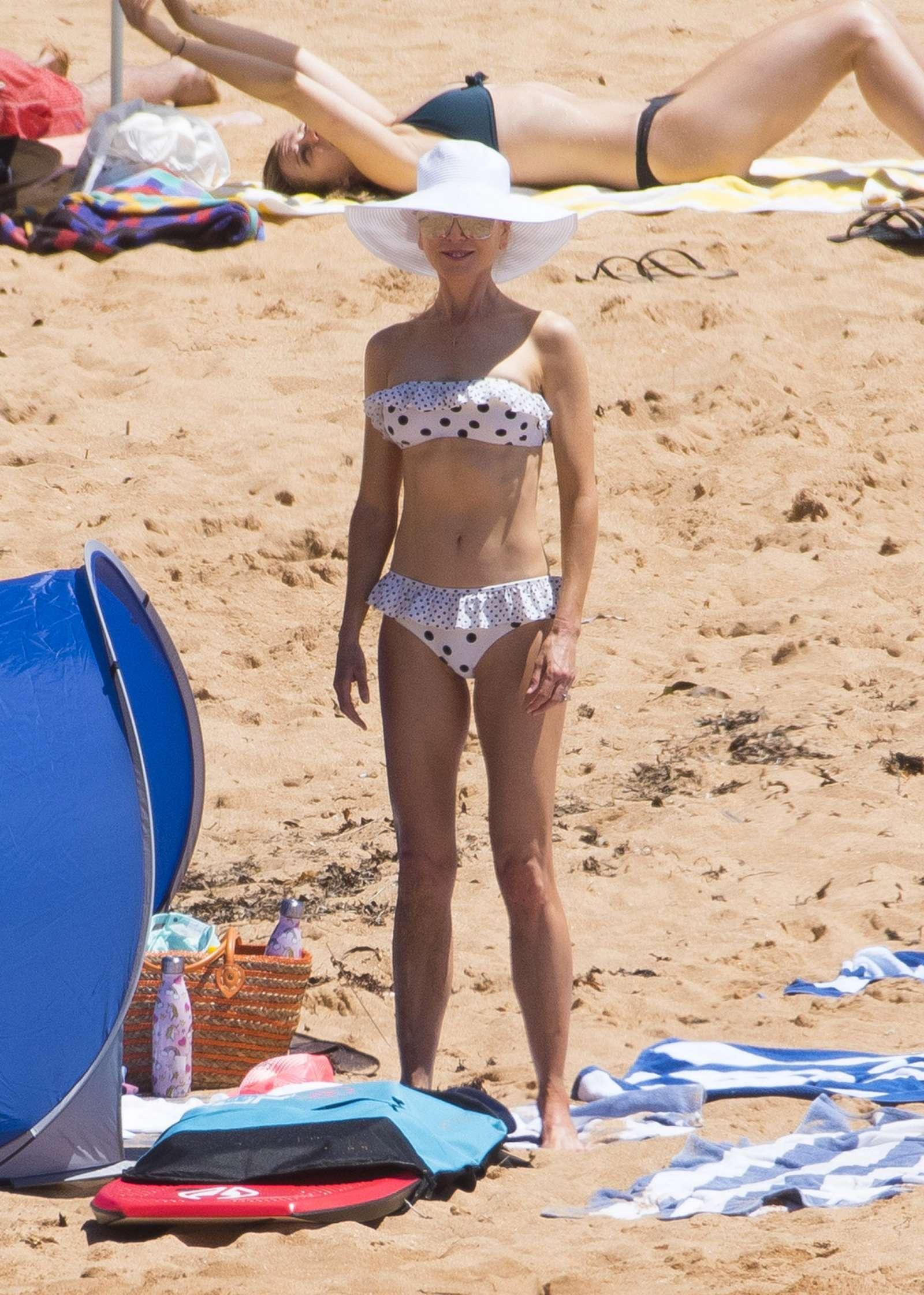 Nicole Kidman in White Polka Dot Bikini in Sydney