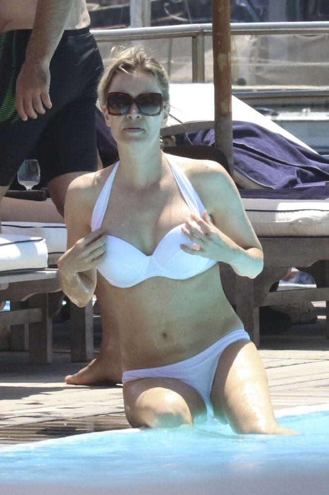 Nicole Kimpel in White Bikini at a Pool in Ischia