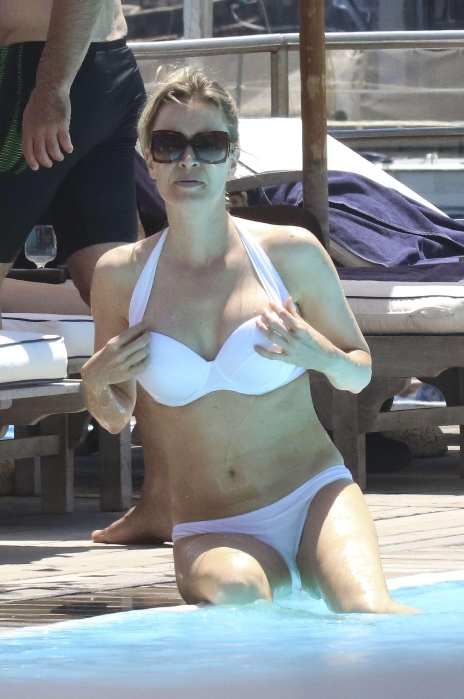 Nicole Kimpel In White Bikini At A Pool In Ischia Gotceleb