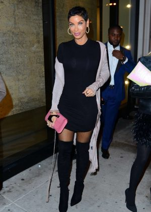 Nicole Murphy in Black Mini Dress at Catch restaurant in LA