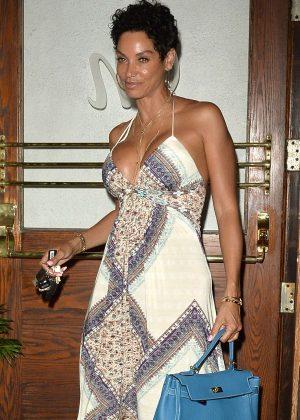 Nicole Murphy in Long Dress at Madeos in LA