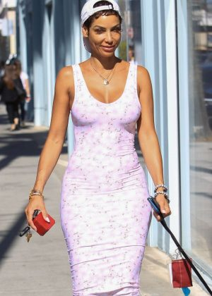 Nicole Murphy in Pink Dress - Shopping in Beverly Hills