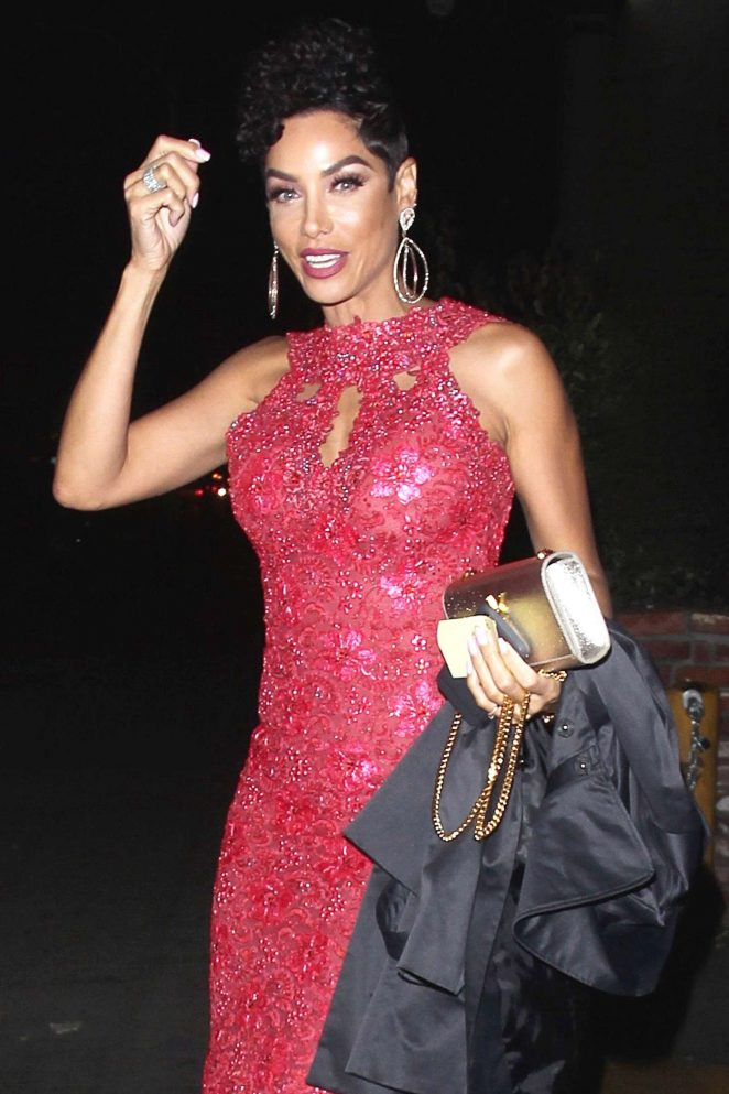 Nicole Murphy in red dress out in West Hollywood